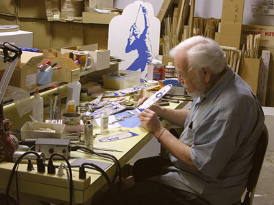 Frank Macy in his shop making American Junior Model planes