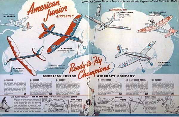 A-J Model Plane Catalog model gliders and rubber powered model airplanes from Jim Walker