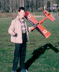 Scott Griffith with his radio control Jr. Falcon in the late 1960's
