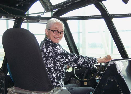 Marilyn Portwood at the pilot seat of the Spruce Goose