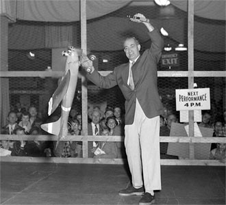 Jim Walker flying Fireball at Cleveland Hobby show in 1954