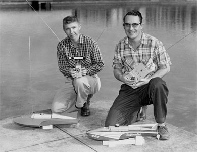 Willie Willingham and Chuck Hein show off their American Junior boats - Miss Thriftway and Miss Thriftway Too.